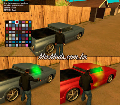 gta sa mod cleo spraycan paint car color pintar veículos lata spray