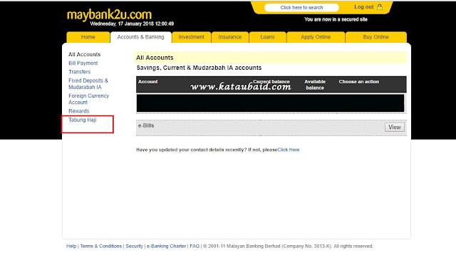 pindah duit Tabung Haji ke Maybank Secara Online