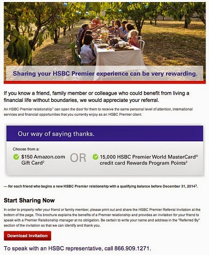 Green Espirit: HSBC Premier Referral $150 Amazon Gift Card