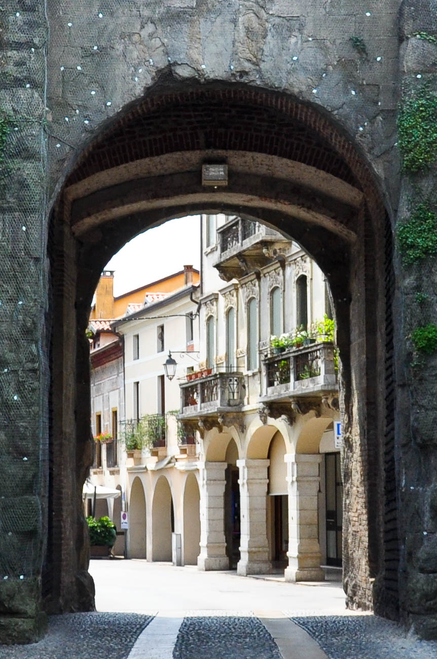 Marostica seen through the gate in the defensive wall#, Cherry Show Market in Marostica, Veneto, Italy