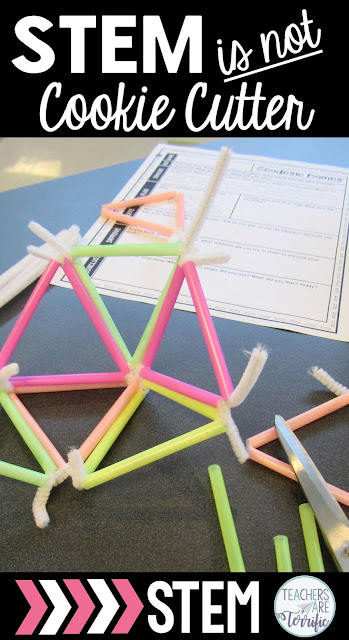 STEM projects might use the same materials, but the final structures are very different. Expect students to use their own special talents and thinking to make their models unique! Definitely not cookie cutter projects! Check this blog post for more things STEM in NOT!