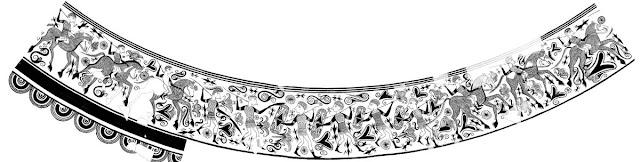 Dibujo del friso del Vaso de los Guerreros realizado por Francisco Porcar en 1934.