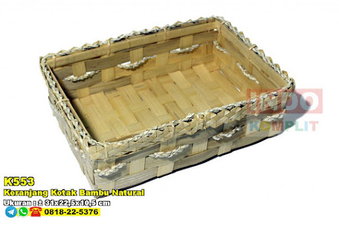Keranjang Kotak Bambu Natural