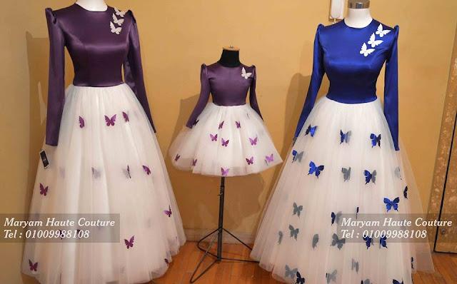 من أجمل أشكال الفساتين السواريه بالتُل والفراشات للمحجبات