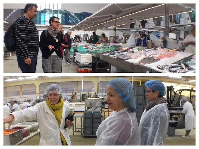 visita a um mercado de peixes e a uma fábrica de conservas
