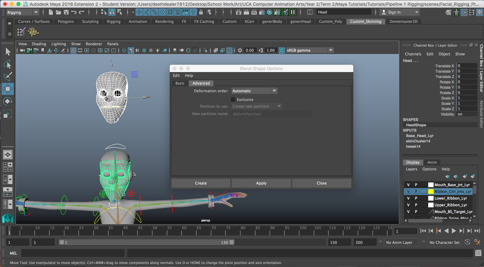 Deanna Crisbacher : Maya Pipeline 1: Facial Rigging Pt  1 - Creating