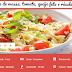 Salada de massa, tomate, queijo feta e rúcula