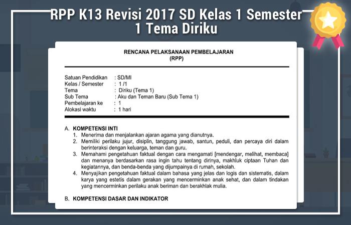 RPP K13 Revisi 2017 SD Kelas 1 Semester 1 Tema Diriku