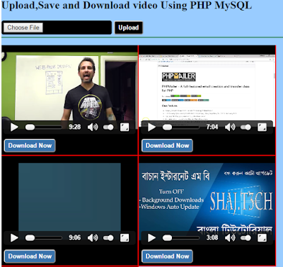 video upload ,display and download in php mysql