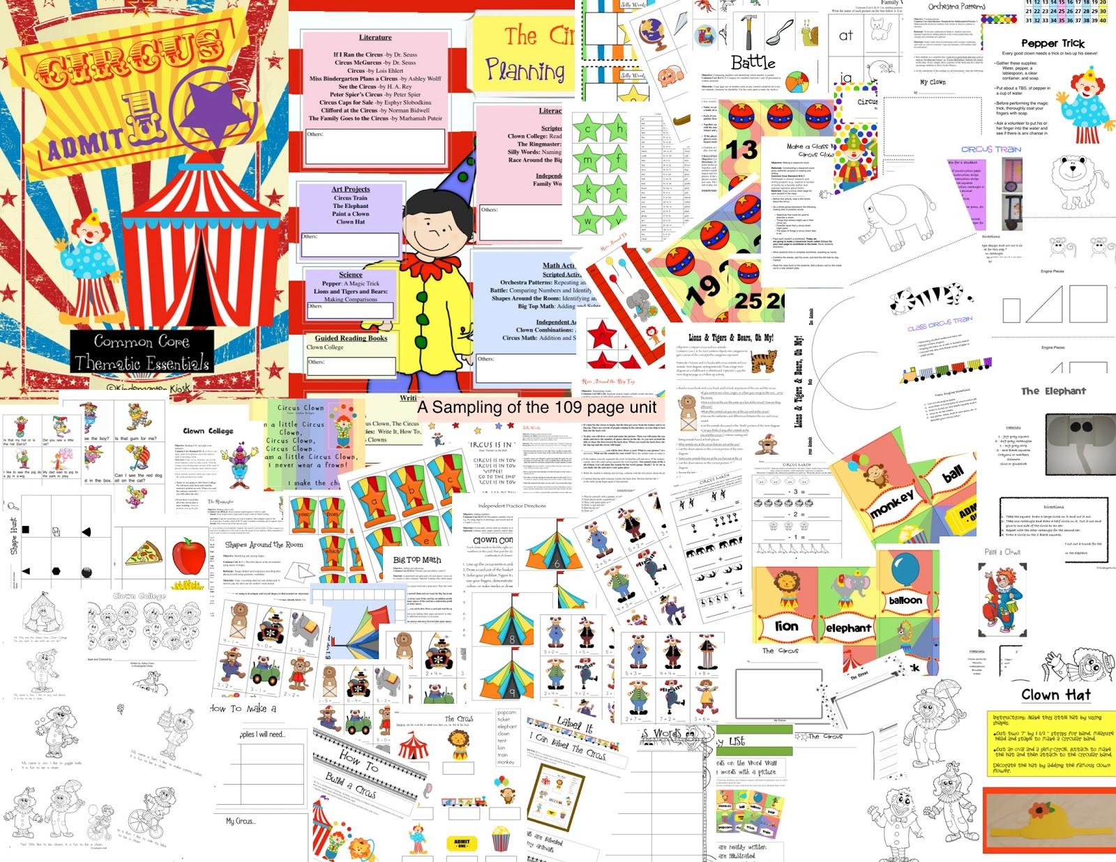 Kindergarten Kiosk The Circus Thematic Common Core