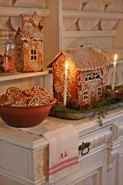 Swedish Farmhouse Christmas Decorating Interior Design white kitchen gingerbread houses