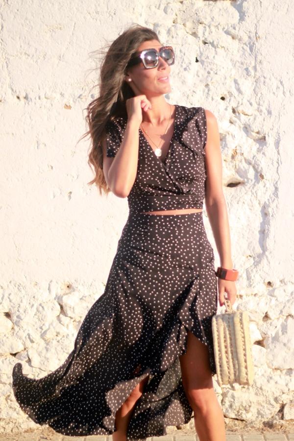 conjunto falta y top, falda vaporosa, look verano