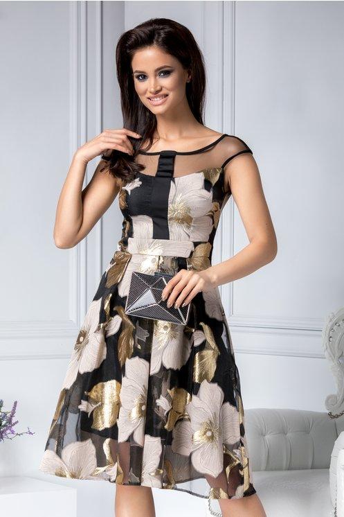 Rochie in clos de ocazie neagra cu imprimeu floral crem-auriu