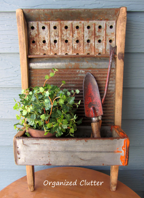 Repurposed Washboard Planter www.organizedclutterqueen.blogspot.com