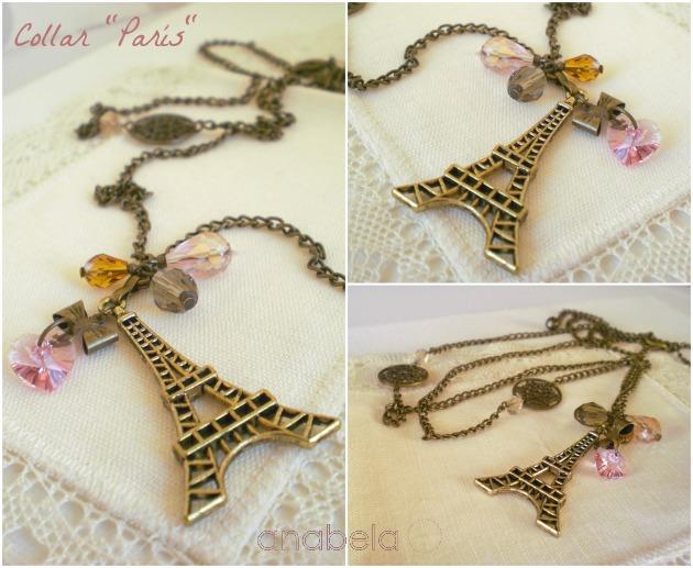 collar de bronce y cristal checo con charm torre eiffel