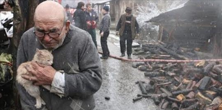 Elderly man's home burned up with all his possessions - but he holds onto the most important thing left