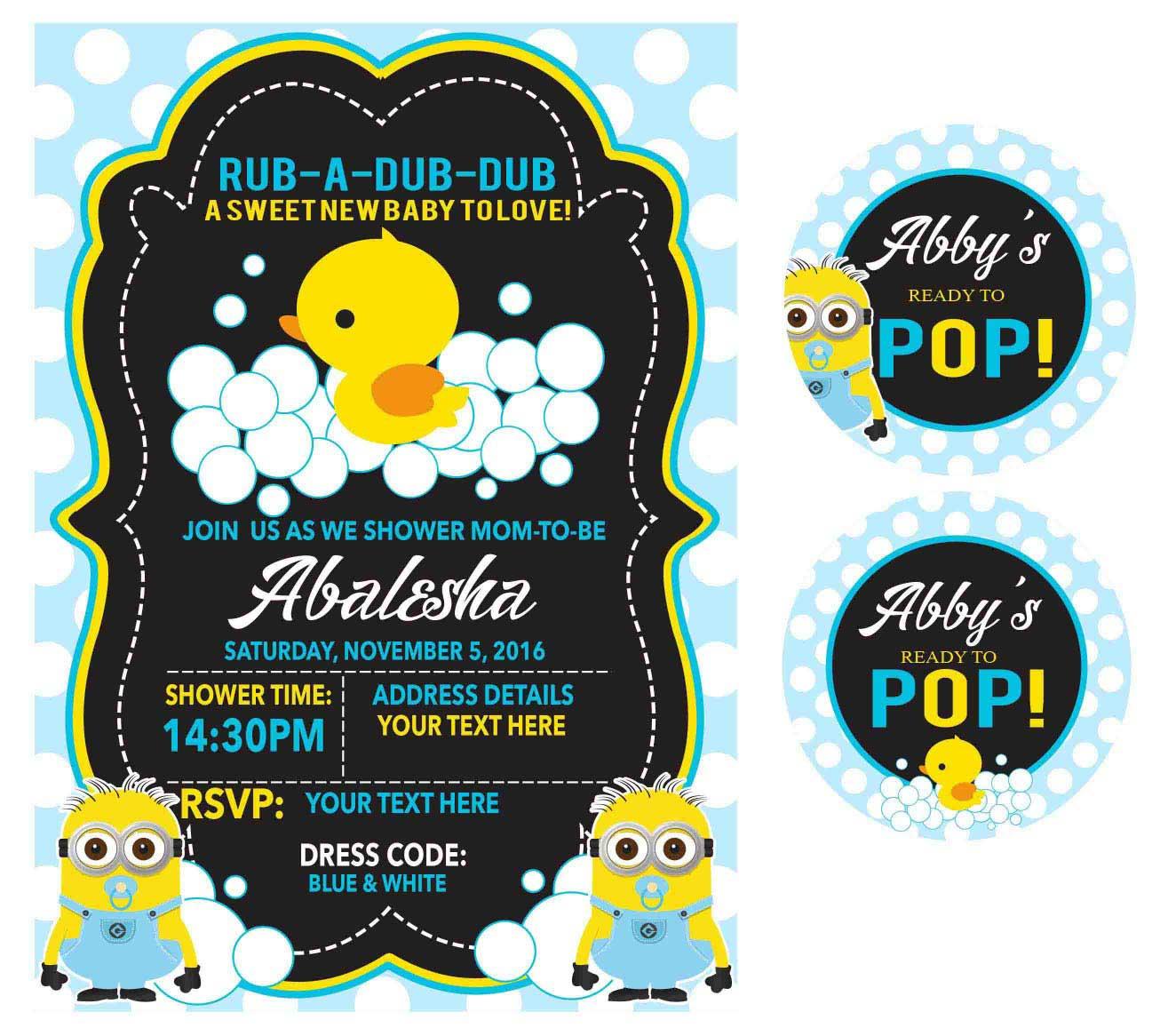 Minion Duck baby shower invite Miss Rich