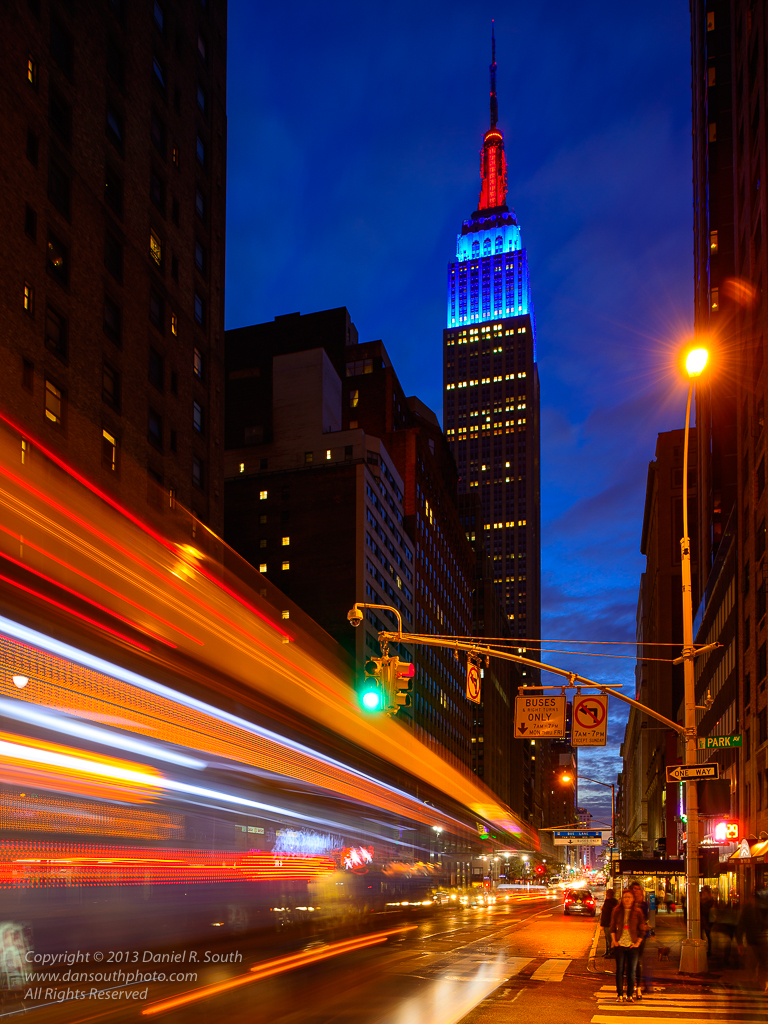 a photo of the Empire State Building in New York City in Motion