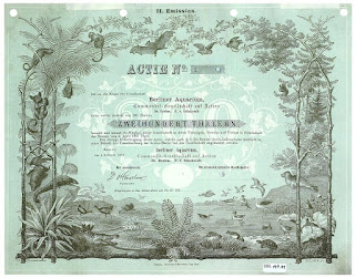 Giesecke & Devrient printer proof share certificate from the Berliner Aquarium