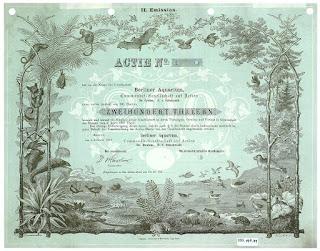 Giesecke & Devrient printer proof share certificate from the Berliner Aquarium