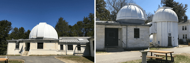 "Whitin Observatory domes that house the 12"" Fitz/Clark refractor (left) and the 6"" Clark refractor (middle)  and the 24"" Sawyer reflector telescope (far right)."