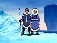 Sokka and Katara, dark-skinned boy and girl dressed in blue thick fur-lined clothing