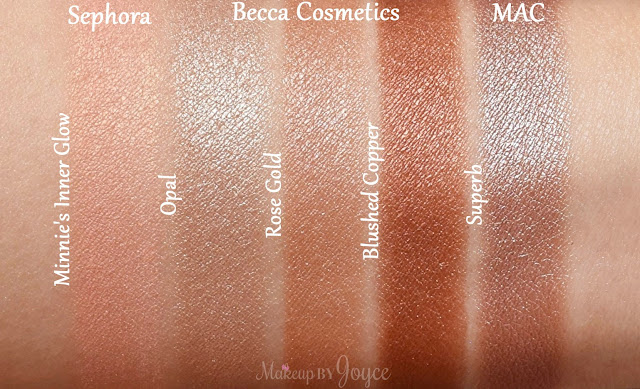 Becca Rose Gold Blushed Copper Limited Edition MAC Superb Dupe Swatches