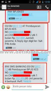format sms banking BNI baar BPJS