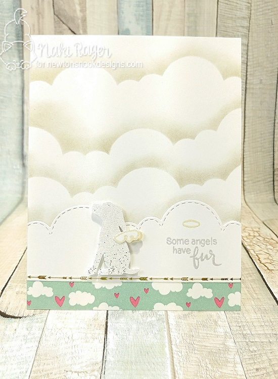 Some Angels Have Fur Dog card by Naki Rager | Furr-ever Friends | Dog and Cat Sympathy Stamp Set by Newton's Nook Designs #newtonsnook