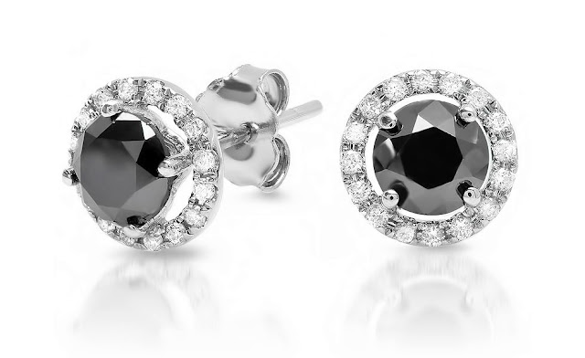 White and Black Diamond Round Stud Earrings