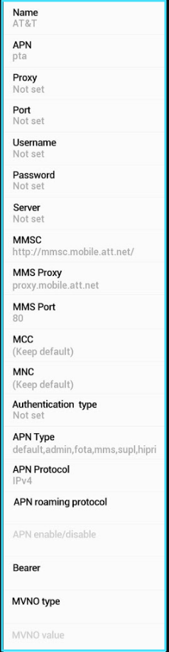New AT&T APN Settings android