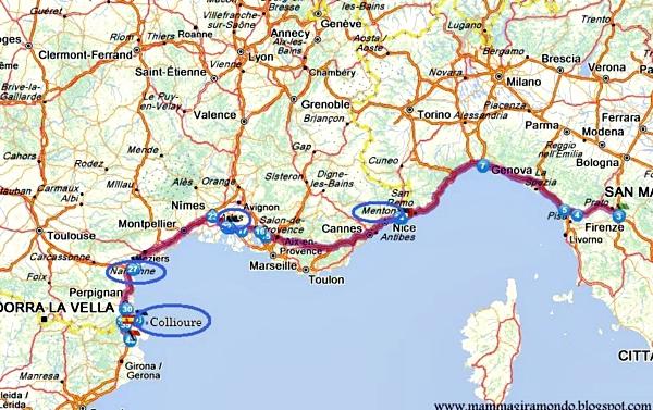 Cartina Italia Francia E Spagna.Itinerari On The Road Italia Spagna