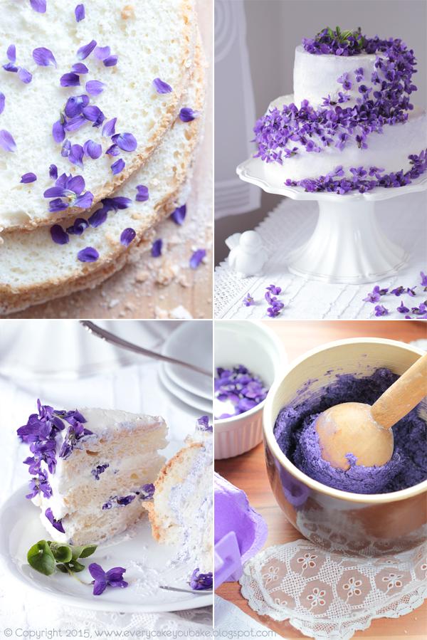 piętrowy tort fiołkowy weselny