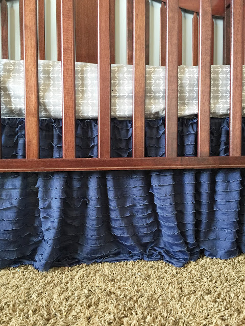 Navy Blue Ruffle Crib Skirt