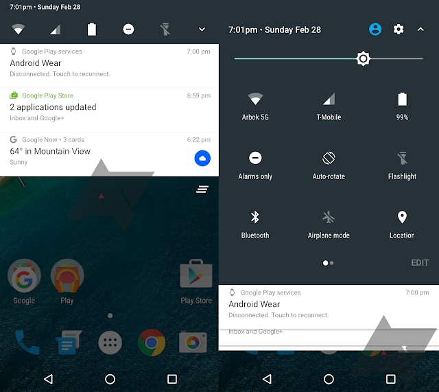 Here are Images of Android N Notification Bar and Quick Setting Panel