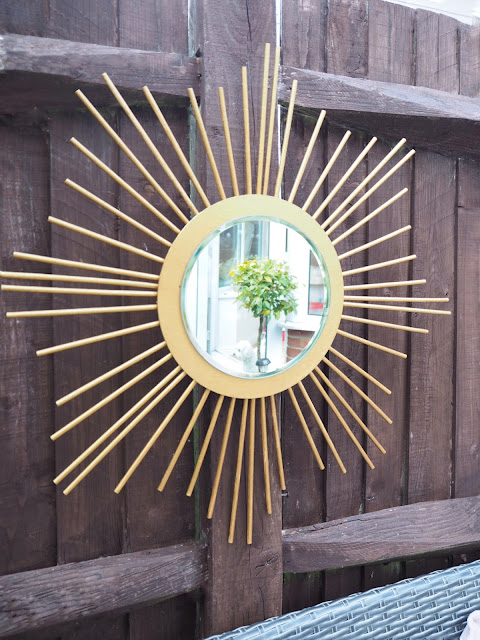 DIY tutorial sunburst mirror outdoor mirror using mirror candle plate and wooden dowels from hobbycraft