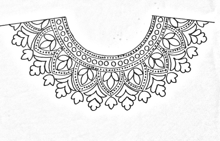 Neck designs pencil sketches for embroidery designs