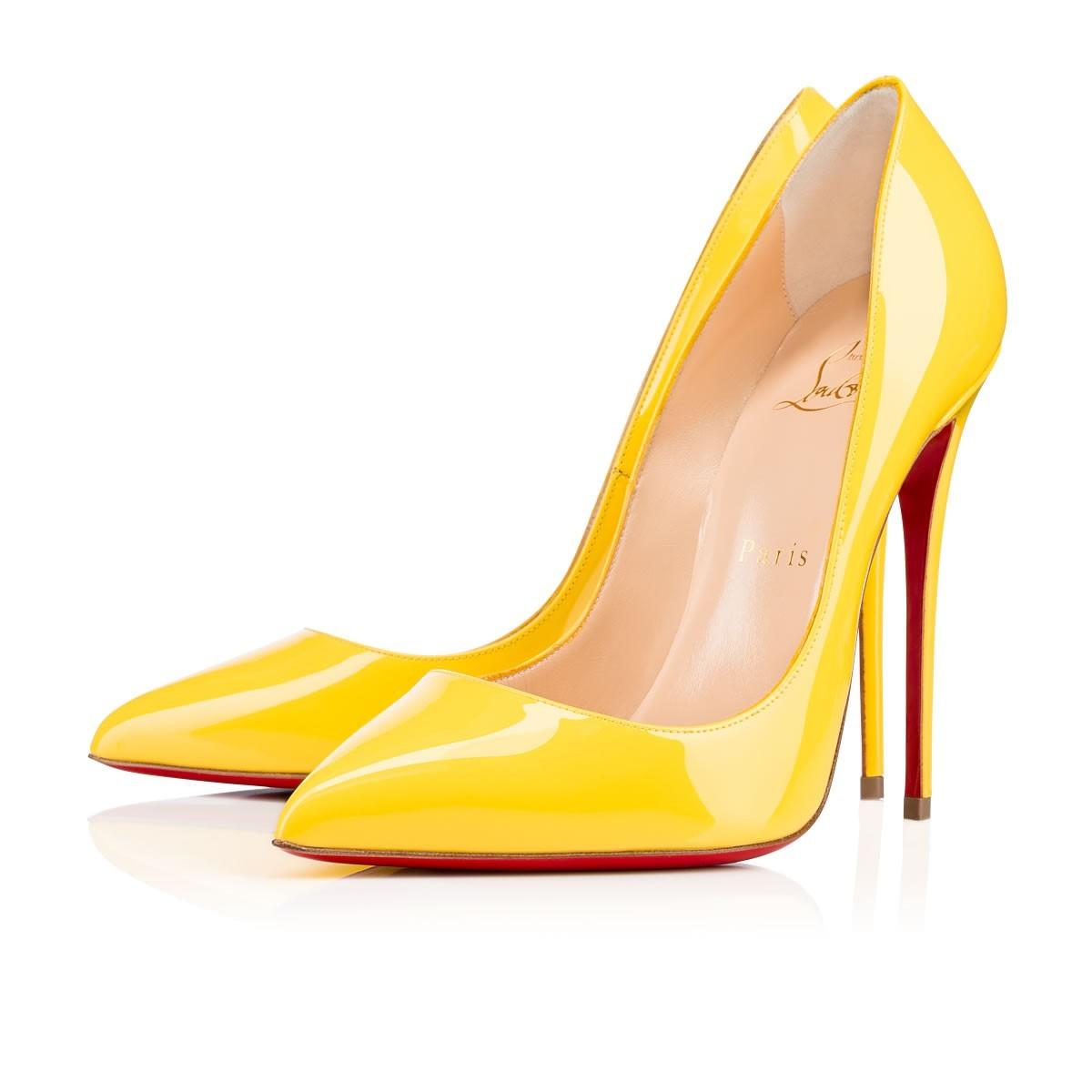 CHRISTIAN LOUBOUTIN SO Kate Yellow Patent Stiletto Heels