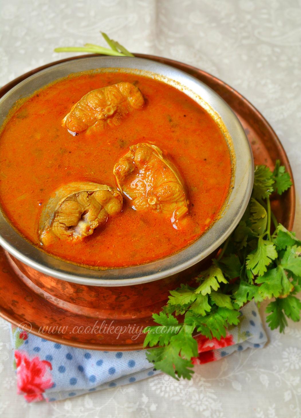 Sura Meen Kuzhambhu Shark Fish Indian Curry Recipe