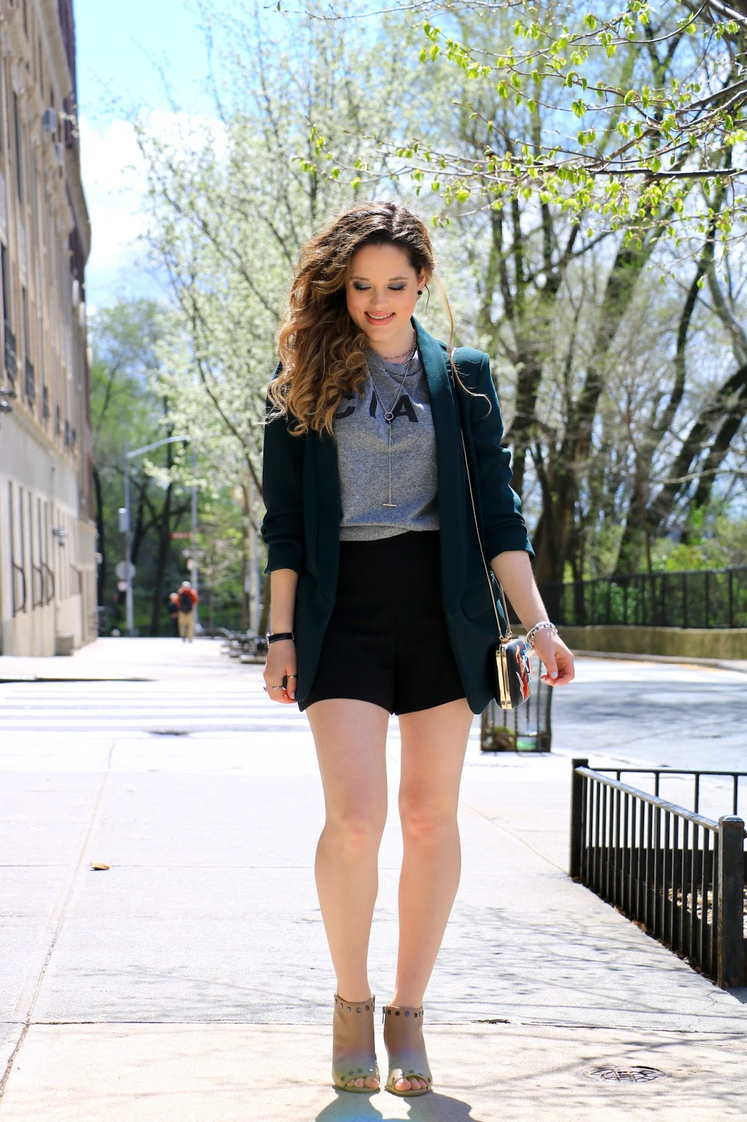 Nyc fashion blogger Kathleen Harper's spring street style with shorts and blazer