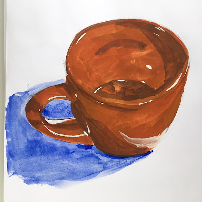 Daily Art 09-26-17 drawn from life mug study in gouache in Canson XL Mix Media sketchbook