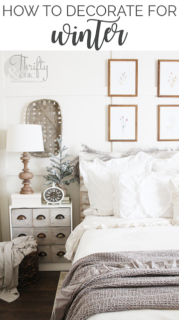 Winter decor and decorating ideas. Winter bedroom decor. How to decorate after Christmas. Farmhouse bedroom decor. Neutral bedroom decor and ideas. White and cream bedroom. Board and batten bedroom ideas. Tips on how to decorate for winter.
