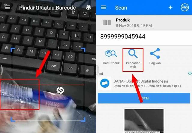Caracek harga barang melalui barcode pada android 3