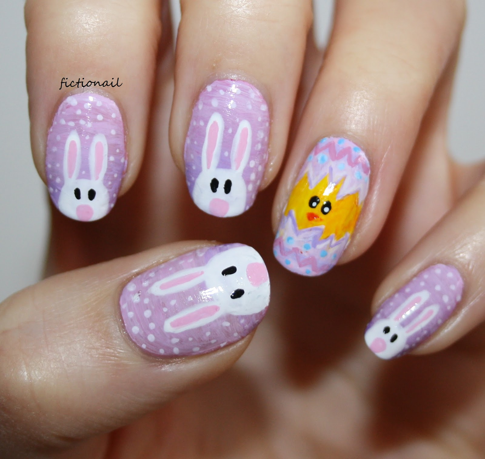 Easter Bunny And Chick Nails