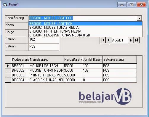 Memunculkan ComboBox Kode Barang Dan Nama Barang VB 6.0, Memunculkan Data Pada Database.