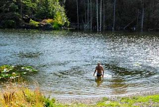 Wayne Dunlap Swimming Larson Lake San Juan Island Washington