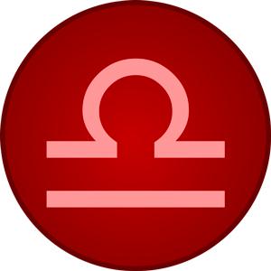 Imagen del signo Libra dentro de un circulo de color rojo