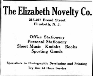 Advertisement for the Elizabeth Novelty Co., Elizabeth, NJ. From the 1917 Elizabeth Directory.