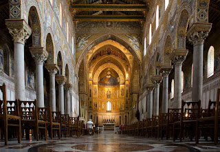The spectacular interior of Monreale Cathedral